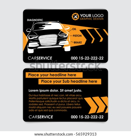 Automotive service business card template car stock vector for Mechanic shop business cards