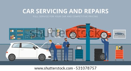 mechanic flat set stock illustration 369414029 shutterstock. Black Bedroom Furniture Sets. Home Design Ideas