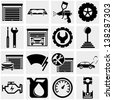 Auto repair vector icons set on gray. - stock vector