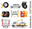 auto service set - stock vector