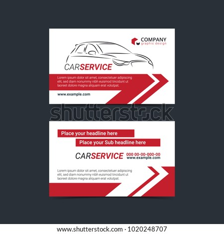 Automotive service business card template car stock vector automotive service business cards layout templates create your own business cards mockup vector illustration reheart Image collections