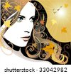 Autumn girl - stock vector