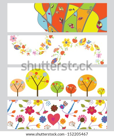 Autumn horizontal banners set funny design