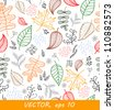 Autumn leaves pattern on light background, vector - stock vector