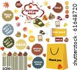 Autumn sale-set of stickers and labels - stock vector