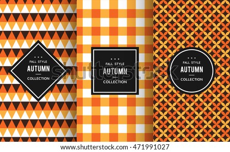 Autumn seamless patterns. Vector illustration for fall decoration. Orange, white, black colors. Set of geometric textile texture background. Bright halloween thanksgiving frame label invitation paper