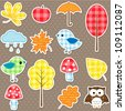Autumn stickers - trees, leafs, mushrooms and birds - stock vector