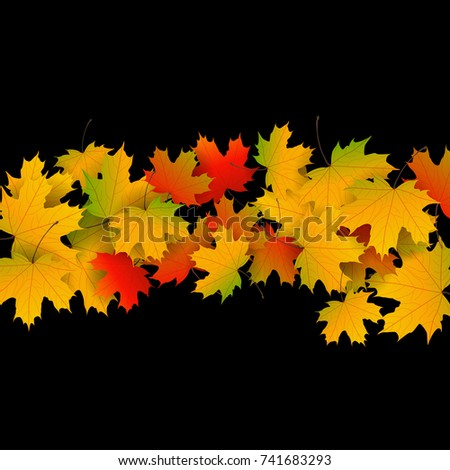Autumn Yellow, Orange, Red Maple Leaves Background In Vector. Nature Colors  Of Autumn