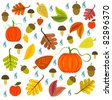 Autumnal texture with leaves, pumpkins and mushroom. Vector illustration - stock photo
