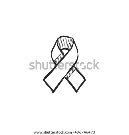Awareness band icon in doodle sketch lines. Aids HIV breast cancer healthcare medical