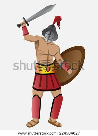 Awesome armed gladiator. Vector illustration