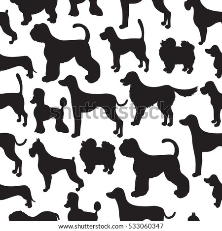awesome set seamless pattern dog silhouettes stock vector