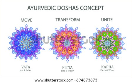 Ayurvedic Doshas Icons Vata Pitta Kapha Stock Vector