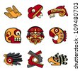 Aztec animal and abstract symbols - stock photo
