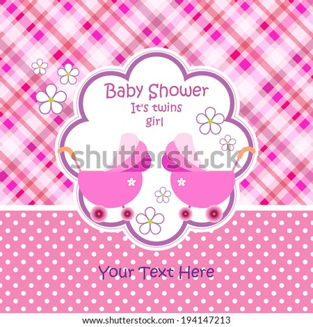 Baby arrival announcement card / Twin baby girl shower card / baby card (stroller design)