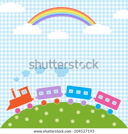 Baby background with train and rainbow. Vector illustration