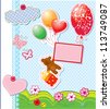 baby birthday card with teddy bear and gift box flying with balloons - stock vector