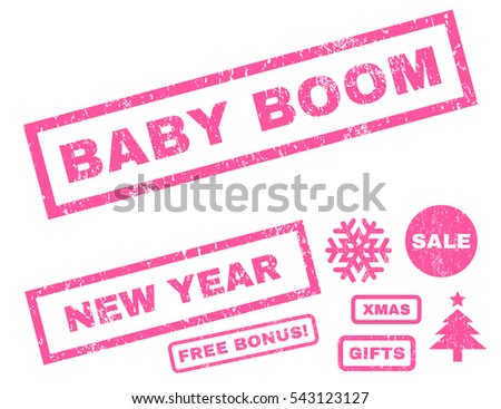Baby Boom rubber seal stamp watermark with bonus images for Christmas and New Year sales. Tag inside rectangular banner with grunge design and dirty texture. Vector pink stickers.