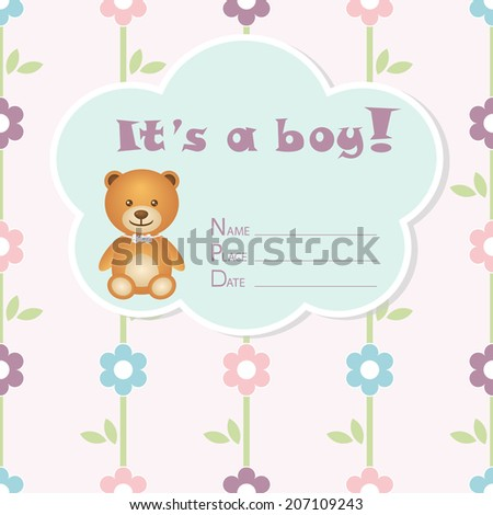 Baby boy arrival card. Baby shower card. Newborn baby card with bear and colorful flowers. Vector illustration.