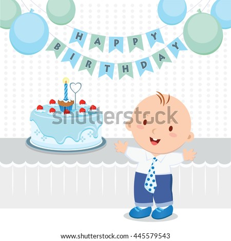 Baby Boy Birthday Party Vector Illustration Of A Little Celebrating His First