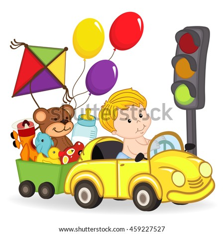 baby boy by car with toys - vector illustration, eps