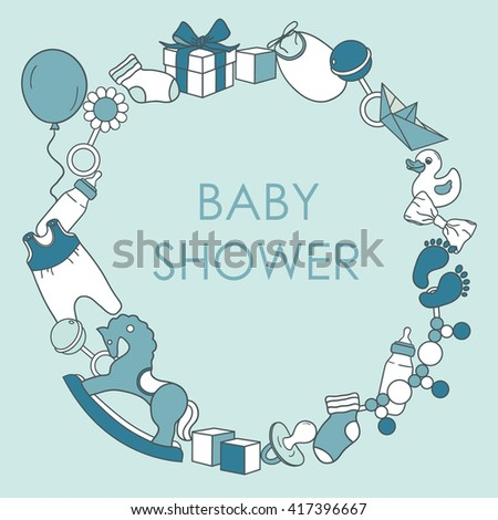 Baby Boy Shower Card. Colorful Invitation Vector. Newborn Baby Boy  Background. Illustration With