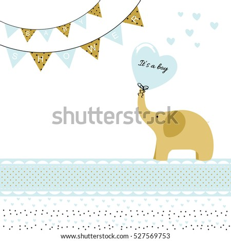 Baby boy shower card with elephant