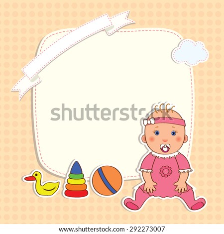 Baby card with a little girl and toys and frame for text and cloud on a light background in peas, vector cartoon