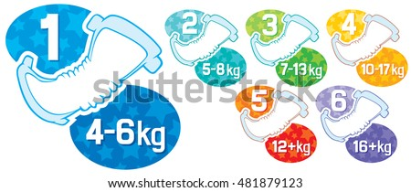 baby diaper - different sizes labels