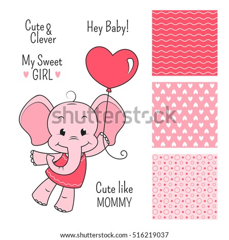 Baby elephant pink design set with seamless patterns