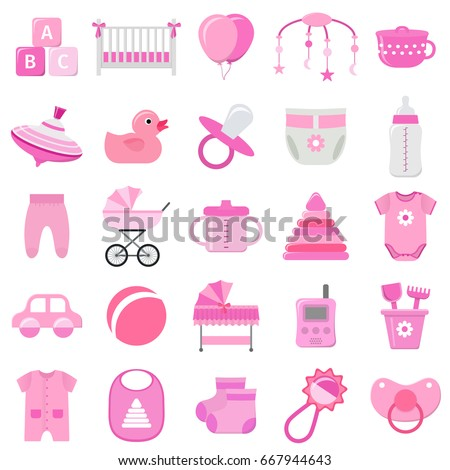 set vector hand drawn baby icons stock vector 77943712