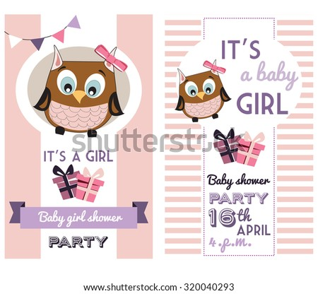 baby girl shower invitation card template with cute owl
