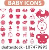 baby icons set, vector - stock vector