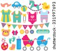 baby objects clip art set - stock vector