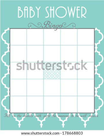 Baby Shower Bingo Game Template Elegant Aqua