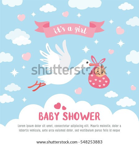 Baby Shower Card Template Round Frame Stock Vector 548253895