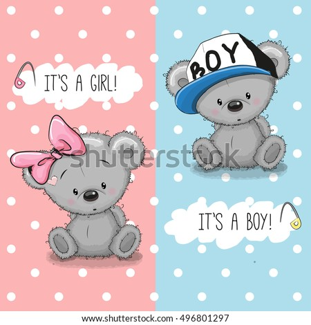 baby shower greeting card with teddy bears boy and girl