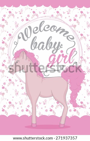 Baby shower invitation - Pink horse