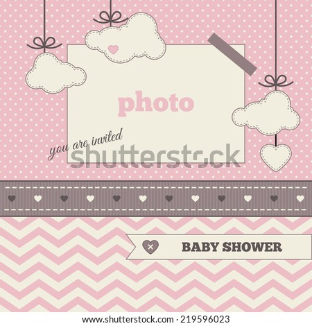 Baby shower invitation, template. Brown, pink and cream colors. Photo frame and decorative elements (clouds, heart) on a polka dot and chevron background