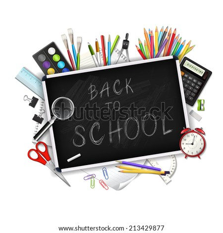 Back to school background with supplies tools isolated on white background. Layered vector illustration.