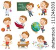 Back to school. Cute schoolchild at a lesson of geography, literature, physical education, biology, botany, chemistry, drawing. Young boy raising his hand in school. Wrote in chalk on blackboard - stock photo