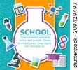 Back to school elements on blue background poster in sticker style design. Vector illustration template card illustration concept  - stock vector