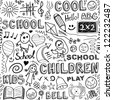 Back to school. Sketchy elements seamless pattern. - stock vector