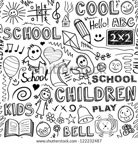 Back to school. Sketchy elements seamless pattern.