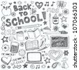 Back to School Supplies Sketchy Notebook Doodles with Lettering, Shooting Stars, and Swirls- Hand-Drawn Vector Illustration Design Elements on Lined Sketchbook Paper Background - stock