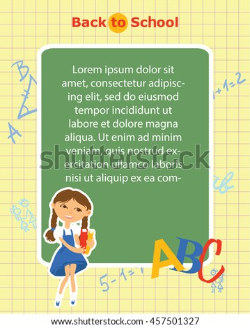 Back to school. The template for the banner. Ready for your message. Lorem Ipsum. Cute schoolchildren. Funny cartoon character. Vector illustration