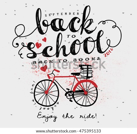 Back to School Vintage Typography Poster, with doodle bicycle, books and swirly hand lettering