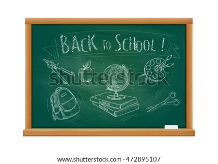 Back to School welcome banner with green blackboard and chalk doodle sketch icons of school supplies compass, apple, backpack, rucksack, globe, books, watercolor paint brushes, scissors