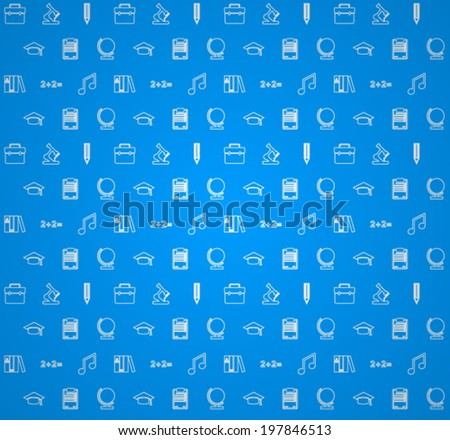 Background for education. Vector pattern with white outline symbols of school or college education on blue background.