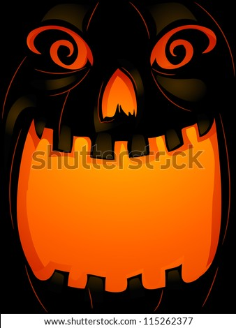 Background Halloween Illustration of a Jack-o'-Lantern with its Mouth Wide Open